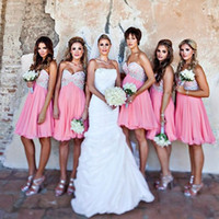 Wholesale hot sale gold dress short online - Hot Sale Beach Short Bridesmaid Dresses Pink Chiffon Applique Sexy Beaded Mini Maid of Honor Gowns Guest Party Dress Custom Made A Line