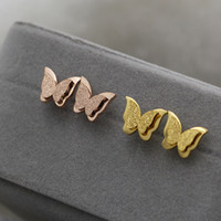 Wholesale Gold Jewelry For Children - Stainless Steel Earrings For Women Child Rose Gold Color Frosted Double Butterfly Earrings Studs Best Jewelry Gift