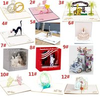 Wholesale 3D Pop Up Greeting Cards Diamond Ring Valentine Anniversary Wedding Anniversary FAI