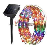 Wholesale Christmas Lights Color Led - 100-LEDs 200-LEDs 300-LEDs LED Solar String Light 10M 20M 30M Multi-Color RGB Blue Red Green Pink Purple Warm Cool LED Flash Strings