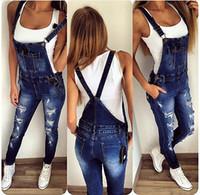 jumpsuit calça jeans venda por atacado-Atacado- 2016 Womens Jumpsuit Denim Macacões Rasgado Casual Solto Jeans Skinny Calças Buraco Salopette Jeans Mulheres Macacões tamanho S-XL