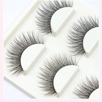 Wholesale Stage Eye Makeup - 2017 New Handmade 3D Stereo Natural False Eyelashes Cross Messy Soft Thick Fake Eyelashes Cotton Stalk Stage Show Makeup Eye Lashes