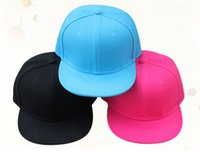 Wholesale hiphop boy snapback - Wholesale- no logo cotton kids child children baseball cap boy girl flat brim hiphop snapback Black blue pink