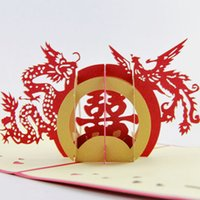 Wholesale Wedding Card Handmade - Wholesale- Handmade 3D Pop-Up Greeting Card - Chineser - Happy Wedding Chinese Traditional Wedding Stamp
