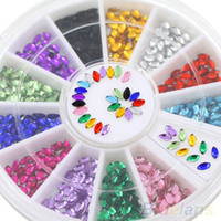 Wholesale Nail 3d Glitter Stickers - 2016 HotMulticolor Oval 3D Glitters Studs DIY Decoration Nail Art Tips Stickers Wheel 7COR 8LCC