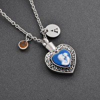 Wholesale Cremation Jewelry Necklace Mom - Mom and Child Heart Urn-Cremation Jewelry-Family Member Loss Cremation urn Pendant Necklace Women-Memorial Jewelry For Ashes