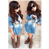 Wholesale Dress Cowboy Baby Girl - New fashion spring autumn 2016 baby Girls cowboy dress children denim dresses white polka-dot dress