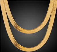 Wholesale Mexican Costume Jewelry - Hot Sale 18K Real Gold Plated Men Women 1+1 Snake Chain Necklace Fashion Costume Necklaces Jewelry