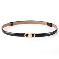 Wholesale Ladies Faux Belts - Summer Fashion Women Luxury Belts Female Patent Leather Designer Slim Dress Belt Ladies Rose gold Buckle Waist Belts