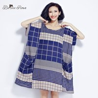 Wholesale Classical Clothing For Women - Wholesale- BelineRosa 2017 Large Size Dress Classical Cotton and Linen Plaid Summer Dress Clothes for Pregnant Women Fit 50~90KG TYW0209