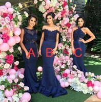 Wholesale Bridesmaid Dresses Different Necklines - lace appliques beaded bridesmaid dresses for wedding 10 different style bateau off the shoulders halter neckline wedding guest dresses
