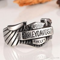 Wholesale motorcycle jewelry rings - Wholesale Davidson stainless steel jewelry, motorcycle rings, men's personality letters, feathers rings