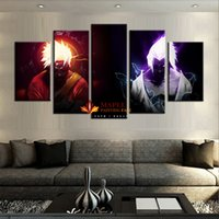 Wholesale Wall Paintings For Cheap - Wholesale 5 Panels canvas printings NARUTO VS SASUKE home decor wall art picture for living room cheap canvas paintings