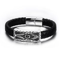 Wholesale Men Magnetic Bracelet Sale - Wholesale- Hot Sale Men Magnetic Buckle Genuine Black Leather Bracelet 316l Stainless Steel Freemason Masonic Bracelets Jewelry