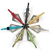 ingrosso punte della lama-12pcs 3 lama fissa in acciaio e alluminio Tiro con l'arco punte di freccia 100 punte di freccia con punta di freccia per archi da tiro con l'arco