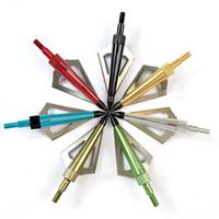 okçuluk için yaylar toptan satış-Okçuluk Bows için 12pcs 3 Sabit Bıçak Çelik ve Alüminyum Okçuluk Ok uçları 100 Tane Arrowhead Av Ok İpuçları
