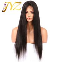 insan perukları fabrikası toptan satış-Ön Koparıp Doğal Saç Çizgisi Dantel Ön Peruk Fabrika Fiyat Ile Goldleaf Saç Tam Dantel Peruk Bebek Saç Düz İnsan saç Tam Dantel Peruk