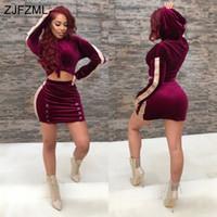 Wholesale Waist Slimming Bands - 2017 new style brand fashion velvet 2 piece dress women purple full sleeve hooded dress autumn waist band cut out dress