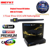 Wholesale T2 Receiver - Free sat V8 Golden Satellite Receiver + 1 year Europe cccam Cline DVB-S2+T2 C IPTV set top box Powervu Youtube freesat