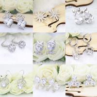 Wholesale Owls For Earrings - Hot Sale 925 Silver Stud Earrings Owl Bowknot Flower Cubic Zirconia Silver Earrings Jewelry For Women Party Anniversary