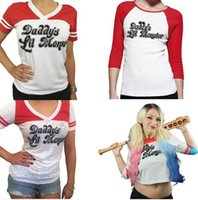 Wholesale 2017 Batman Suicide Squad Haley Quinn cosplay Daddy s Lil Manster T shirt harley quinn top tshirt
