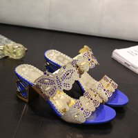 Wholesale Ladies Butterfly Sandals - Women Summer High Heel Scuffs Slippers Rhinestone Bling Butterfly Sandals Ladies Open Toes Middle Heels Mules shoes US4.5-9