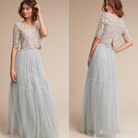 Wholesale Cheap Baby Fall Dresses - Bohemian Beach 2017 Baby Blue Lace Top Two Pieces Bridesmaid Dresses Cheap V-Neck Half Long Sleeve Maid Of Honor Gowns Bridesmaids Dress