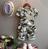Wholesale Girls Camouflage Shorts - Baby 2017 children fashion summer baby boys clothing sets 2pcs camouflage sport suit clothes sets boys girls set 2-7Y