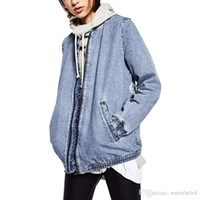 Wholesale Denim Jacket Vest Sleeves - Women Jepanese Style Embroidery Patch Denim Bomber Jacket Coat Long Sleeve Pockets Casual Outwear Casual Coats Ladies Punk Outwear Top