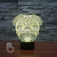 Wholesale Diy Promotional Gifts - Wholesale- 3D LED Cute Pug Dog Night Light Baby Animal Lights Table Lamps For Home Decor Christmas Promotional Gifts For kids Children