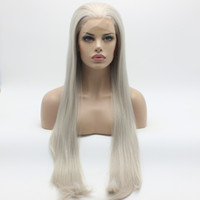 Iwona Hair Straight Extra Long Light Grey Wig 22 # 4503/1001 Demi-mains à lame résistant à la chaleur sans cordon en dentelle en perruque
