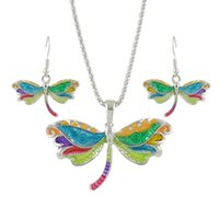 Wholesale Silver Dragonfly Necklace Pendants - Latest Design Fashion Jewelry Colorful Enamel Dragonfly Pendant Necklace Drop Earrings Jewelry Sets for Women