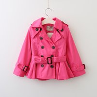 Wholesale Girls Candy Color Belt - Everweekend Girls Double-Breasted Belt Jacket Lovely Kids Candy Color Coat Cute Baby Western Fashion Fall Outerwear