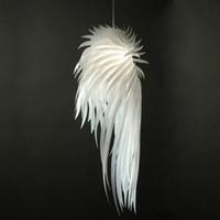 Wholesale White Feather Pendant Light - Novelty Light White Angel Wing Feather Pendant Light Fixture Plastic Suspension Chandelier Light Bedroom Living Room Pendant Lamp Lighting