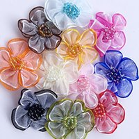 Wholesale Wholesale Craft Organza Flowers - Upick 40 pcs Organza ribbon flowers bows W beads Appliques Craft Wedding Dec