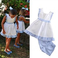 Wholesale New Cute Girls Fashion Set - Summer Baby Girls Clothing Sets Toddler Outfits New Plaid Dress + Check Shorts 2pcs Suit Fashion Kids Casual Shorts Sets C1175