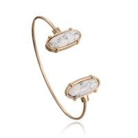 Wholesale Druzy Bracelets - 2017 Kendra Style Cuff Bangle Oval Resin Druzy Bracelet Gold Color Women Jewelry Bulk Price