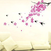 Barato Árvore De Quarto Dos Miúdos-Home Decor Wall Stickers 3D Tree Decalques de ameixa Poster decorativo para crianças Quartos Aderentes a decoração de parede removível com decalques