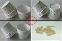 Wholesale Ice Cream Container Lid - Cool!!!1200pcs Round polka dot paper cupcake case ice cream cup, candy cup &containers with Lids no Spoon