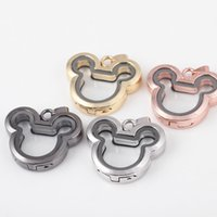 Wholesale mickey for sale - cute mickey Magnetic Floating Locket Glass Living Memory Locket Necklaces DIY pendant jewelry charm maxi statement drop shipping
