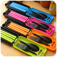Wholesale Plastic Fork Knife Spoon - Dinnerware Sets Bright Color Plastic Chopsticks Spoon Fork Three Pieces Tableware Foldable Travel Cutlery Suit Practical 3 8ld E R