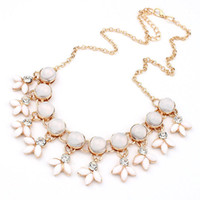 Wholesale Cute Bubble Necklaces - Wholesale- Cute Flower Opals Resin Bubble Beads Necklaces & Pendant Statement Necklace Fashion Women Jewelry Kolye For Girls Gift Party