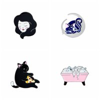 Wholesale Pizza Jacket - Cat Bath,Pizza Cat,Luna Sailor Moon Cat,Lady's Head Metal Enamel Pin Badge Kawaii Denim Jacket Bag Shirt Decorative Jewelry