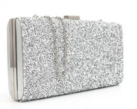 Wholesale Silver Purse Clutches - small designer handbags 2017 gold silver sequined evening clutch Banquet Bag Purse Bridal free shipping