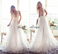 Lurelly pizzo da sposa abiti da sposa bordo floreale 2018 modesto scollo a V Sheer Back Summer Beach Wedding Party Dress ricevimento per la sposa