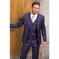 Hosen Online-shop Kaufen -China Online-Shop Bräutigam tragen Navy Blue Herren Dinner Party Prom Anzüge Bräutigam Tuxedos Groomsmen Hochzeit Blazer Anzüge (Jacke + Hosen + Weste + Krawatte)