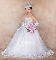 Wholesale first photos - 2017 New Luxury Flower Girls Dresses for Weddings Sweetheart Appliques Crystal Real Photos First Communion Dress Girls Pageant Party Gowns