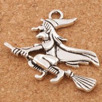 Wholesale Diy Jewelry Spacer - Witches On Broom Spacer Charm Beads 100pcs lot Fashion 31.6x33mm Antique Silver Pendants Alloy Handmade Jewelry DIY L224