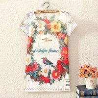 Wholesale Shirt For Woman Bird - Wholesale-2016 Newest Poleras De Mujer 3D Flower Bird Print Short Sleeve Women T-Shirt Tops For Female Punk T Shirt Camisetas Mujer S2054
