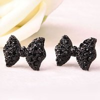 Wholesale Bow Fashion Jewelry - 2016 New hot Fashion Simple Vintage Metal Black Butterfly Bow stud earrings lady ear jewelry for women